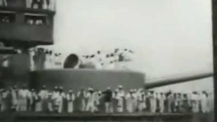 Close View of the 'Brooklyn,' Naval Parade