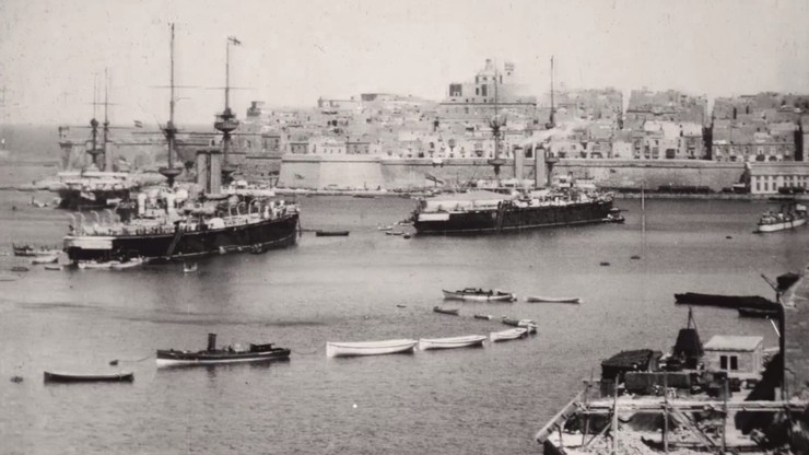 Panorama of Grand Harbour, Malta, Showing Battleships, Etc.