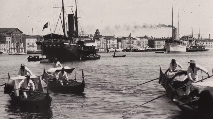 [Venice, harbour scene with gondolas]