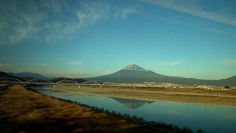 Mount Fuji Seen from a Moving Train